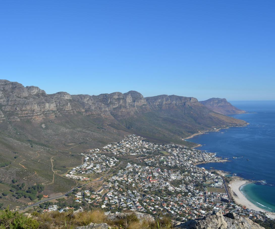 A stunning view of Cape Town from the mountain top, captured by volunteers in South Africa.